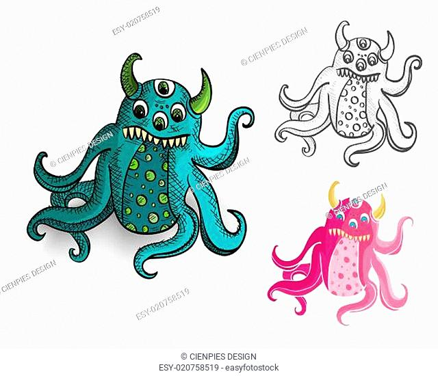 Halloween Monsters spooky isolated creatures set
