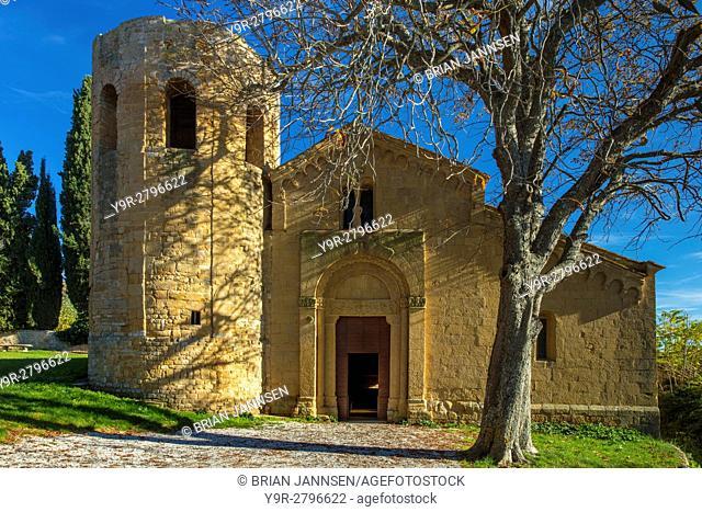 Ancient Pieve di Corsignano church (built 12 C), Pienza, Tuscany, Italy