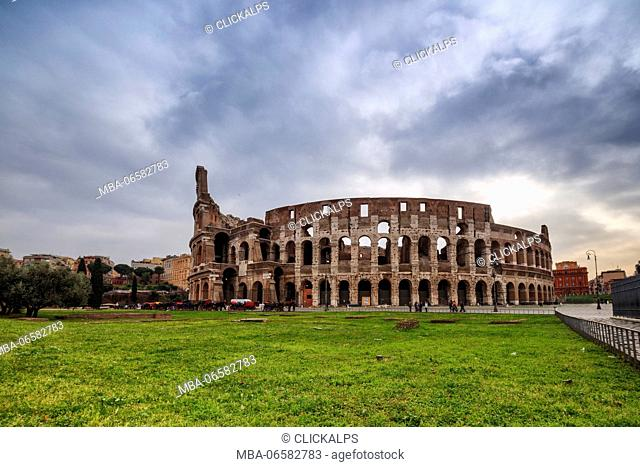 The Colosseum also known as Flavian Amphitheatre used for gladiatorial contests and public spectacles Rome Lazio Italy Europe
