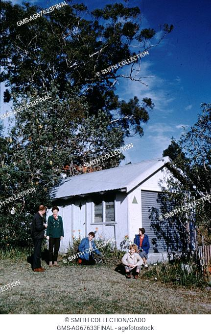 Family at a small youth hostel in Nelson Bay, Australia, 1960