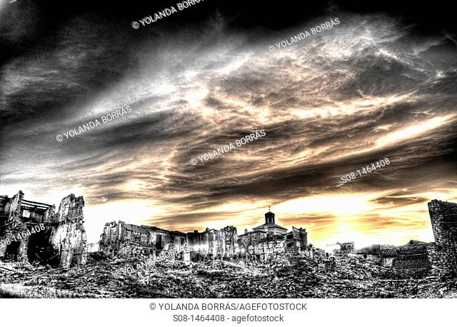 Belchite City, ruins of the town destroyed during the civil war, Aragon, Zaragoza Province, Spain, Europe