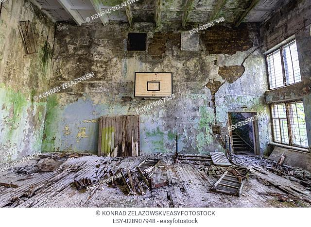 Gym in abandoned high school of Chernobyl-2 military base, Chernobyl Nuclear Power Plant Zone of Alienation in Ukraine