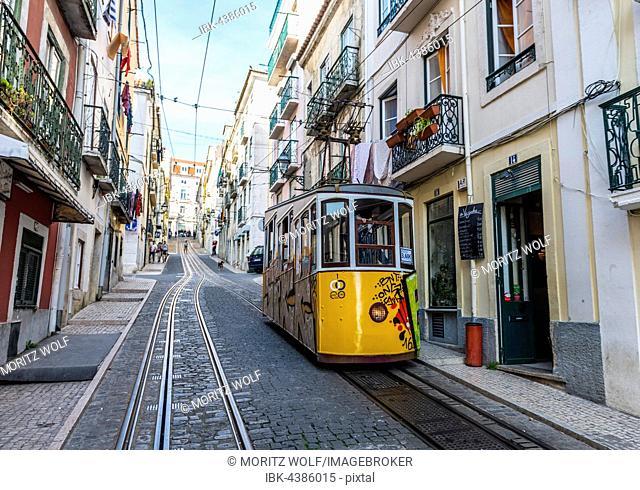 Ascensor da Bica, Bica Funicular, Calçada da Bica Pequena, Lisbon, Portugal