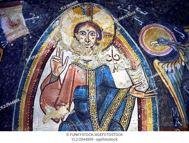 Romanesque frescoes depicting Christ Pantocrator from the Church of Sant Miguel dâ. . Engolasters, Les Escaldes, Andorra. . Painted around 1160