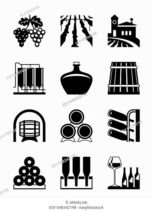 Wine house icon set - vector illustration