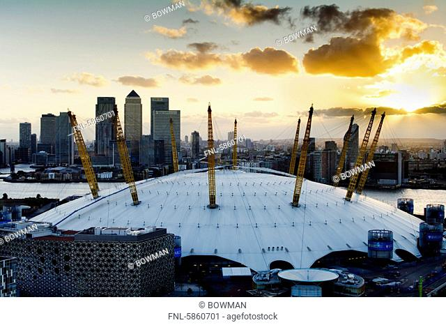 Millennium dome and Canary Wharf, London, Great Britain, Europe