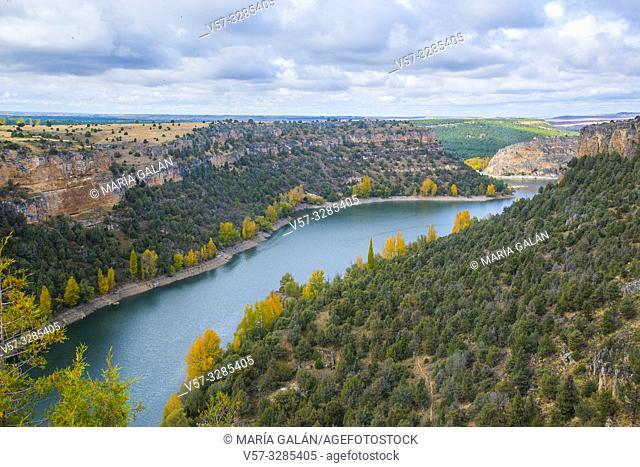 River Duraton in Burgomillodo reservoir. Hoces del Duraton Nature Reserve, Segovia province, Castilla Leon, Spain