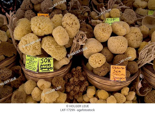 Sea Sponges for Sale, Old Town, Rhodes, Dodecanese Islands, Greece
