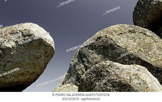 Granite blocks. Pico de La Miel. La Cabrera. Madrid. Spain