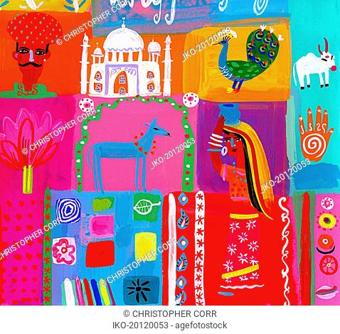 Montage of traditional culture in India