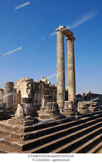 Picture of the steps & columns of the ruins of the Ancient Ionian Greek Didyma Temple of Apollo & home to the Oracle of Apollo