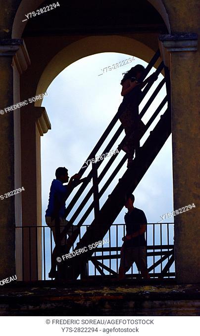 People go up stairs of Iznaga tower in the Hacienda Manaca Iznaga,Iznaga, Cuba