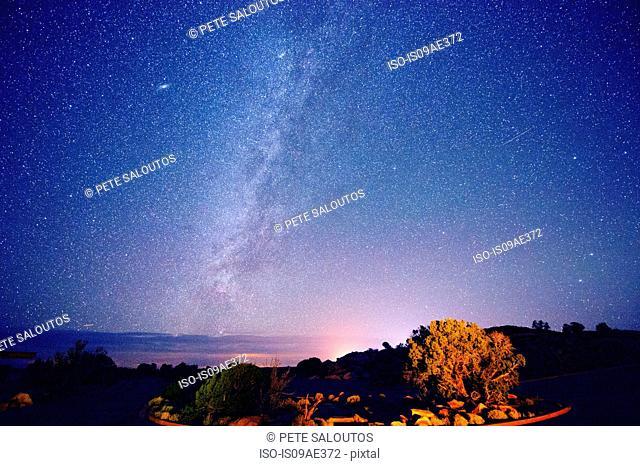 Stars in night sky, Moab, Utah, USA