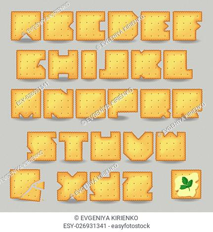 Cracker artistic font. Unusual alphabet. Set of yellow letters, one broken cookie with crumbs, one cookie with butter and sprig of parsley