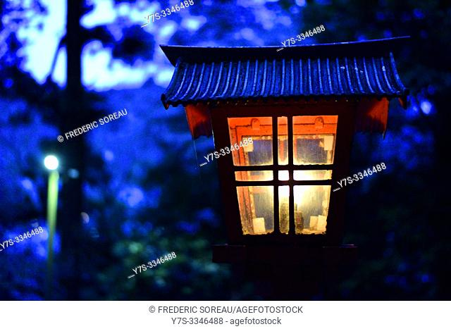 Japanese lantern, Hakone Shrine tori, lake Ashinoko, Japan, Asia