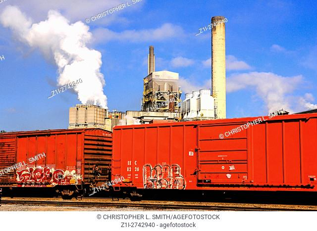 Railroad freight cars at the paper factory in Canton, South Carolina