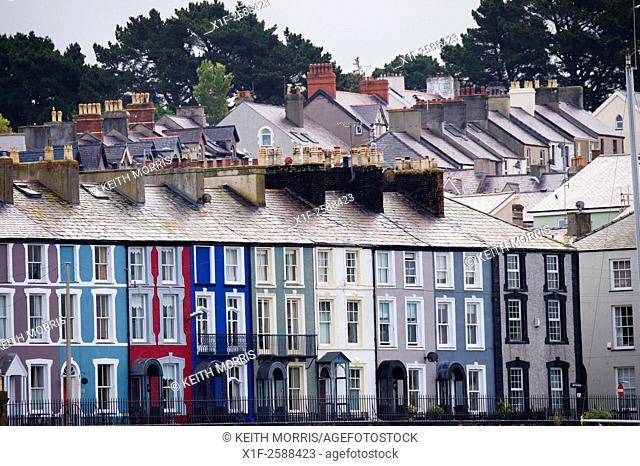 Rows of terraced houses, Caernarfon Gwynedd North Wales UK