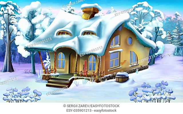Fairy Tale House in a Snowy Forest. Handmade illustration in a classic cartoon style
