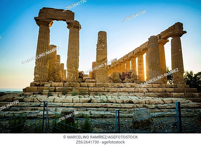 Valley of the Temples. Temple of Juno Lacinia. Agrigento. Sicily. Italy