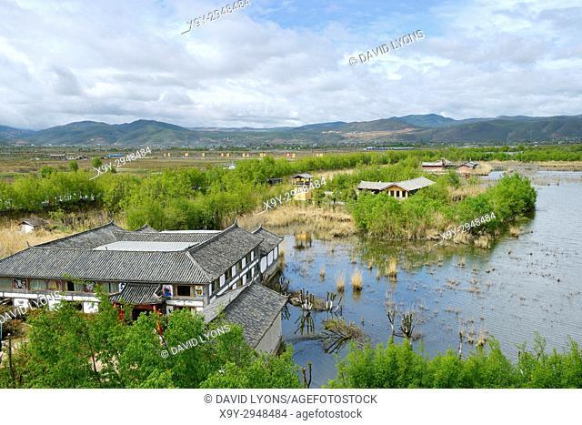 West over Lashi Lake at Lijiang Lashihai Plateau Wetland Nature Reserve, Yunnan. Important Naxi and Li ethnic people and major bird migration area