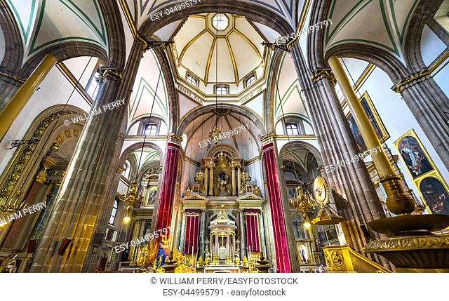Templo de San Felipe Neri Basilica Dome Church Mexico City Mexico. Catholic church created in 1500s by Jesuits