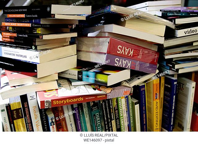 Pile of books in a book shop