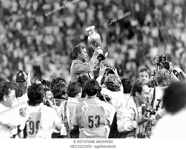 France celebrate winning the European Football Championships, Paris, 1984. Inspired by their midfielder Michel Platini, who finished as the tornament's leading...