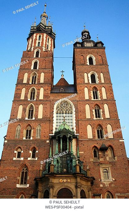 Poland, Cracow, St Marys church, low angle view