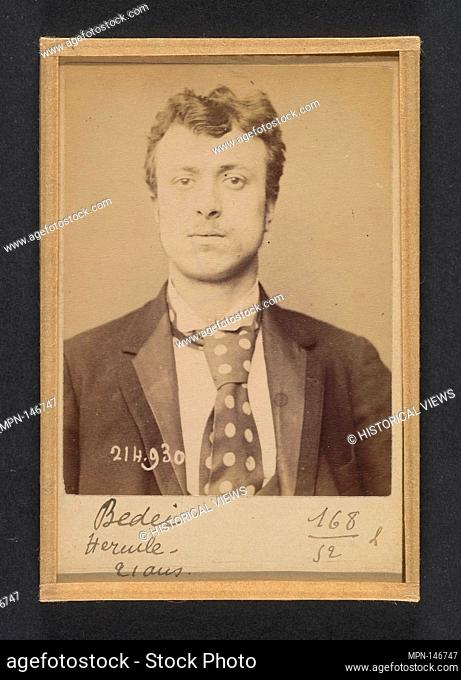 Bedei. Hercule. 21 ans, né à Sorli (Italie). Tailleur d'habits. Anarchiste. 1/3/94. Artist: Alphonse Bertillon (French, 1853-1914); Date: 1894; Medium: Albumen...