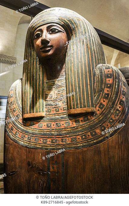 Noble sarcophagus. Ptolemaic. Egyptian Pharaonic collection. Louvre Museum. Paris. France