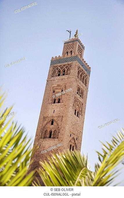 Low angle view of Koutoubia Mosque, off Jamaa el Fna Square, Marrakech, Morocco