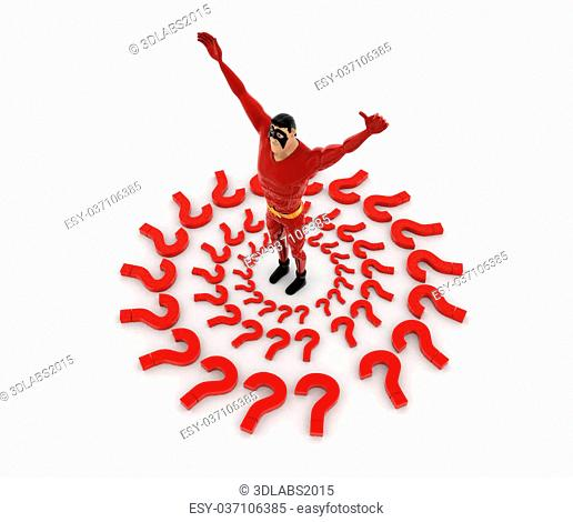 3d superhero in center of question mark around him concept on white background, top angle view