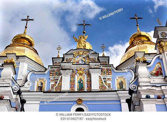 Saint Michael Monastery Cathedral Steeples Spires Facade Kiev Ukraine. Saint Michael's is a functioning Greek Orthordox Monasatery in Kiev