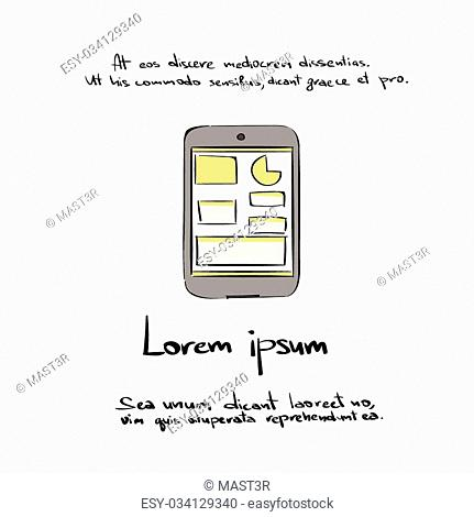 Tablet Computer Hand Draw Color Icon Vector Illustration