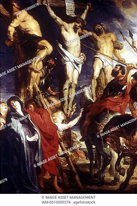 Peter Paul RUBENS 1577-1640 Flemish painter  Le Coup de Lance  Soldiers piercing Christ's side to make sure he was dead  John 19:31-34  Museum of Fine Art