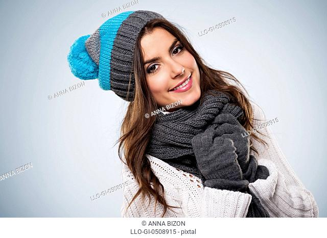 Smiling woman wearing fashion winter clothes Debica, Poland