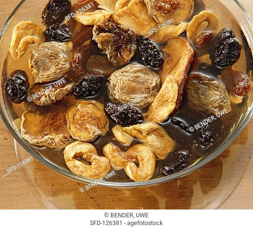 Dried Fruit Soaking in a Bowl