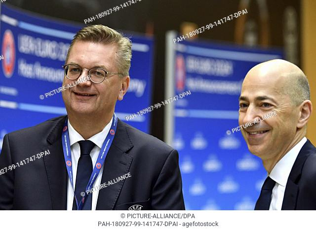 HANDOUT - 27 September 2018, Switzerland, Nyon: Football UEFA meeting Executive Committee at UEFA headquarters before the decision on EM host 2024 between...