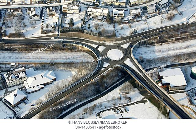 Aerial photo, street intersection in the snow in winter, Siegen, Sauerland, North Rhine-Westphalia, Germany, Europe
