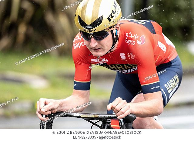 Mark Padun at Zumarraga, at the first stage of Itzulia, Basque Country Tour. Cycling Time Trial race