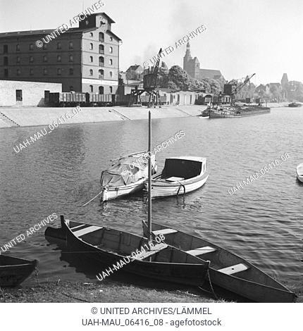 Hafen von Tangermünde, Deutschland 1930er Jahre. Tangermuende harbor, Germany 1930s