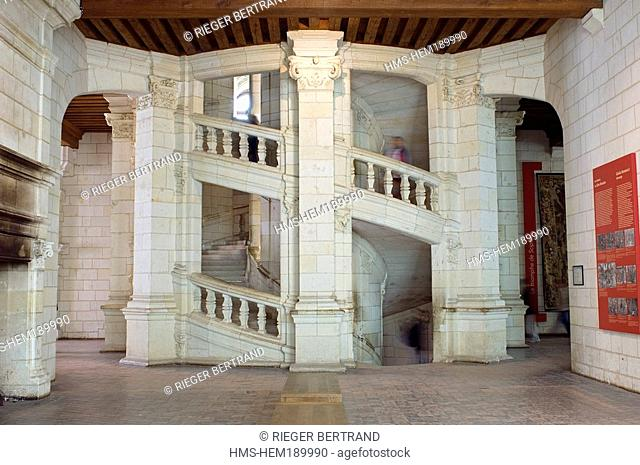 France, Loir et Cher, Loire Valley listed as World Heritage by UNESCO, Chateau de Chambord, double stairs attributed to Leonardo da Vinci