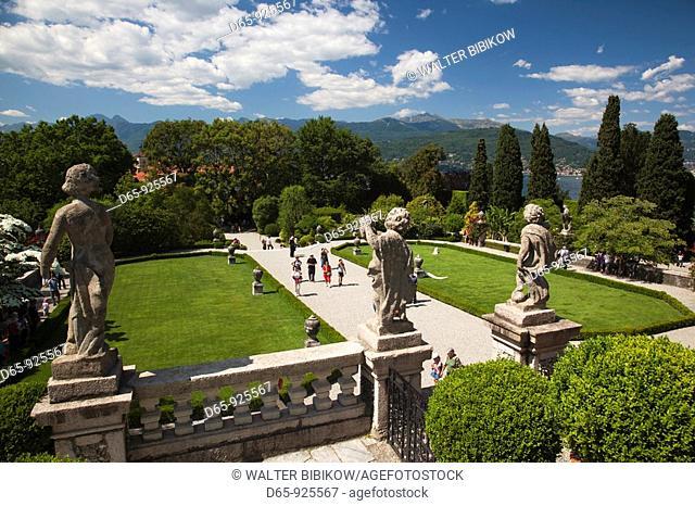 Italy, Piedmont, Lake Maggiore, Stresa, Borromean Islands, Isola Bella, Palazzo Borromeo terraced gardens