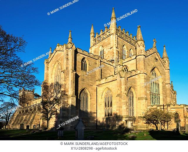 Abbey Church at Dunfermline Abbey with King Robert The Bruce Lettering on the Tower Dunfermline Fife Scotland