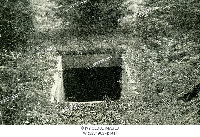 The caption reads: Underground passage through which the Ex-Kaiser fled to Holland. The Ex-Kaiser was Wilhelm II and he escaped to Holland in 1918