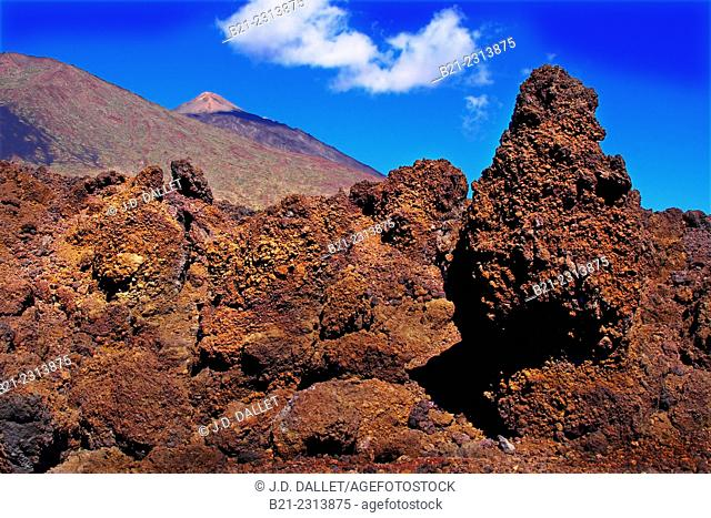 Spain, Canary Islands, Tenerife, lava from the Teide National Park. Teide volcano in background
