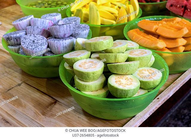 Cut fruits ready for sale in Guangzhou, China