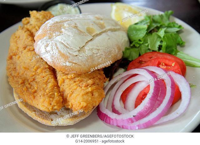 Florida, Tampa, Ybor City, 7th Seventh Avenue, Acropolis Greek Taverna, restaurant, inside, interior, fish, seafood, sandwich, onion, tomato, bun,
