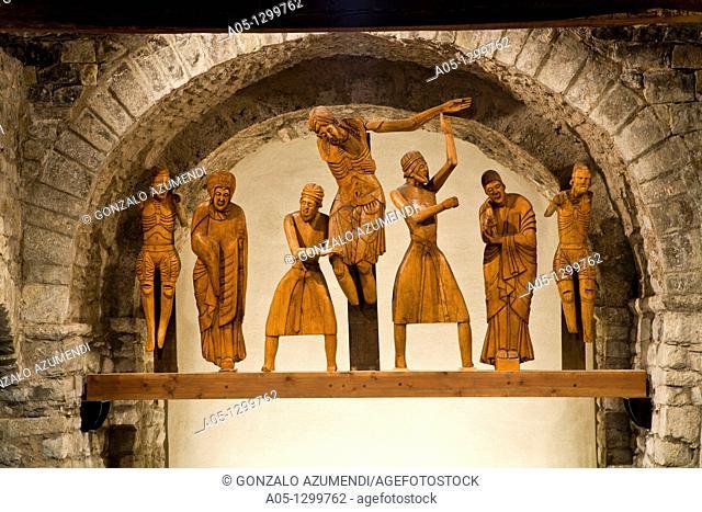 Sculptoric group copy  Descent from the Cross  Santa Eulalia Church  XIIth century  Romanesque church  Erill La Vall  Erill  Boi Taull Valley  Pyrenees...