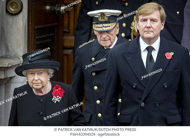 Britain's Queen Elizabeth II (L-R), Prince Philip, Duke of Edinburgh, and King Willem-Alexander of The Netherlands during the Remembrance Sunday ceremony at the...